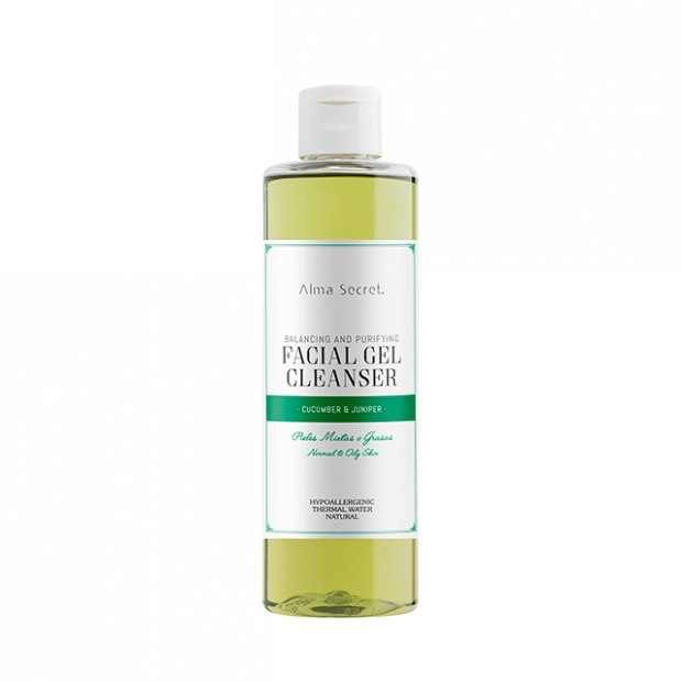 Balancing and purifying facial gel cleanser with cucumber & juniper